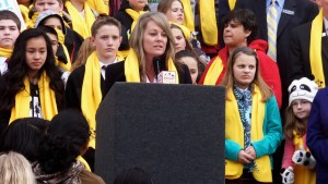 Supt. Ybarra addresses pro-charter supporters at a Boise, Idaho rally.