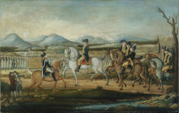 "President Washington prepares to lead troops to quell so-called ""whiskey rebels"""